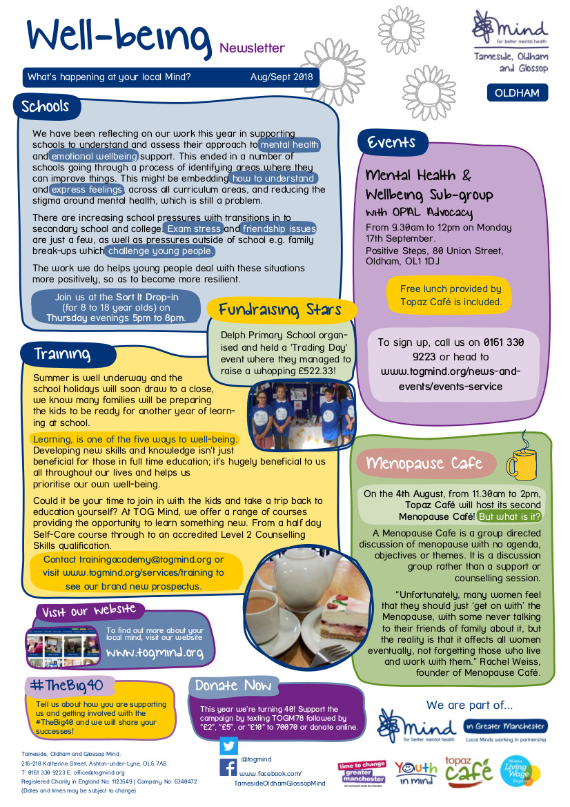 Oldham Wellbeing Column - August / September - Click to view full size