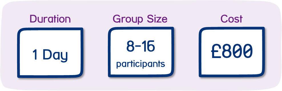 Duration: 1 day - Group Size: 8-16 participants - Cost: £800