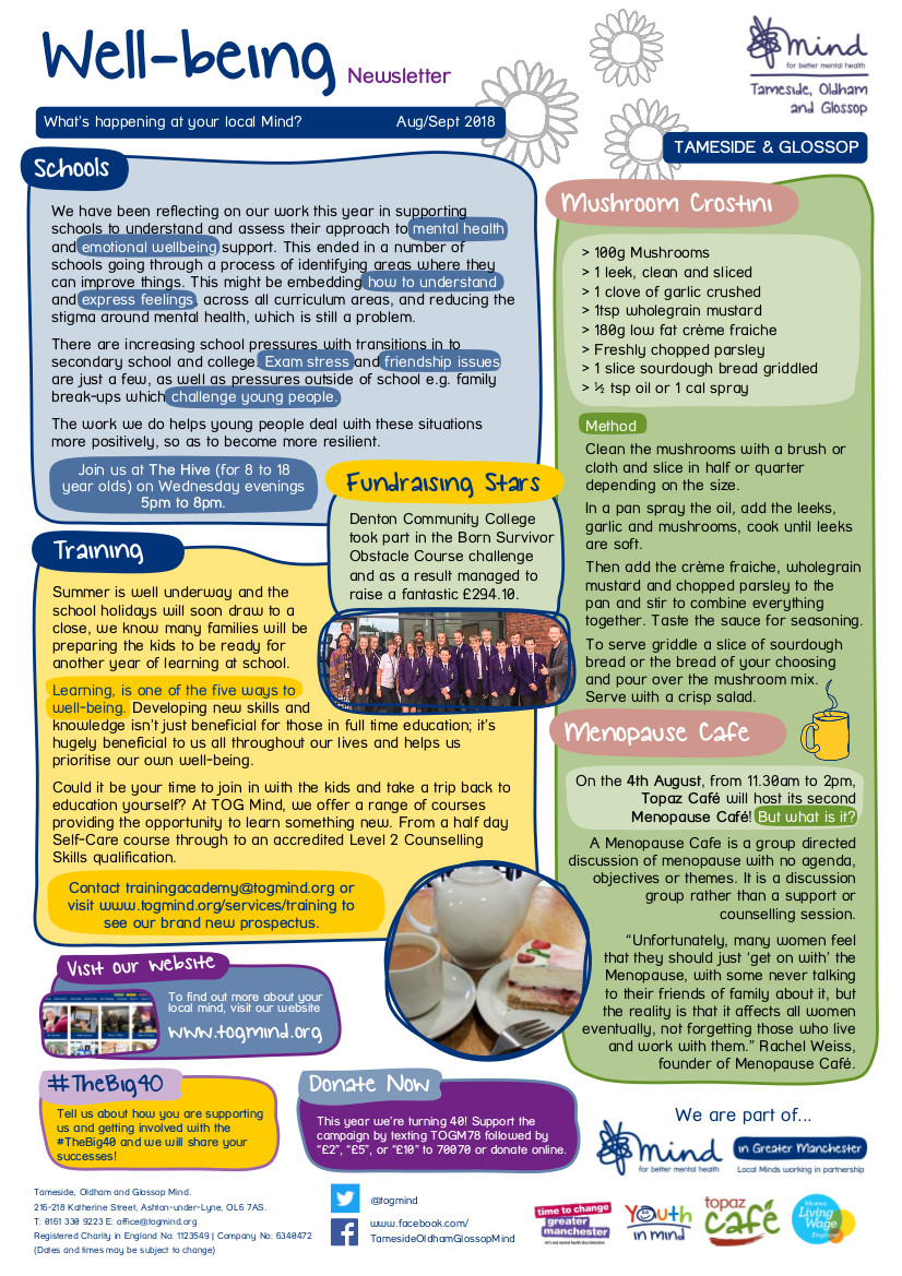 Tameside Wellbeing Column - August / September - Click to view full size