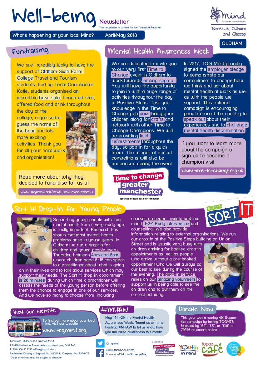 Oldham Wellbeing Column - March/April - Click to view full size