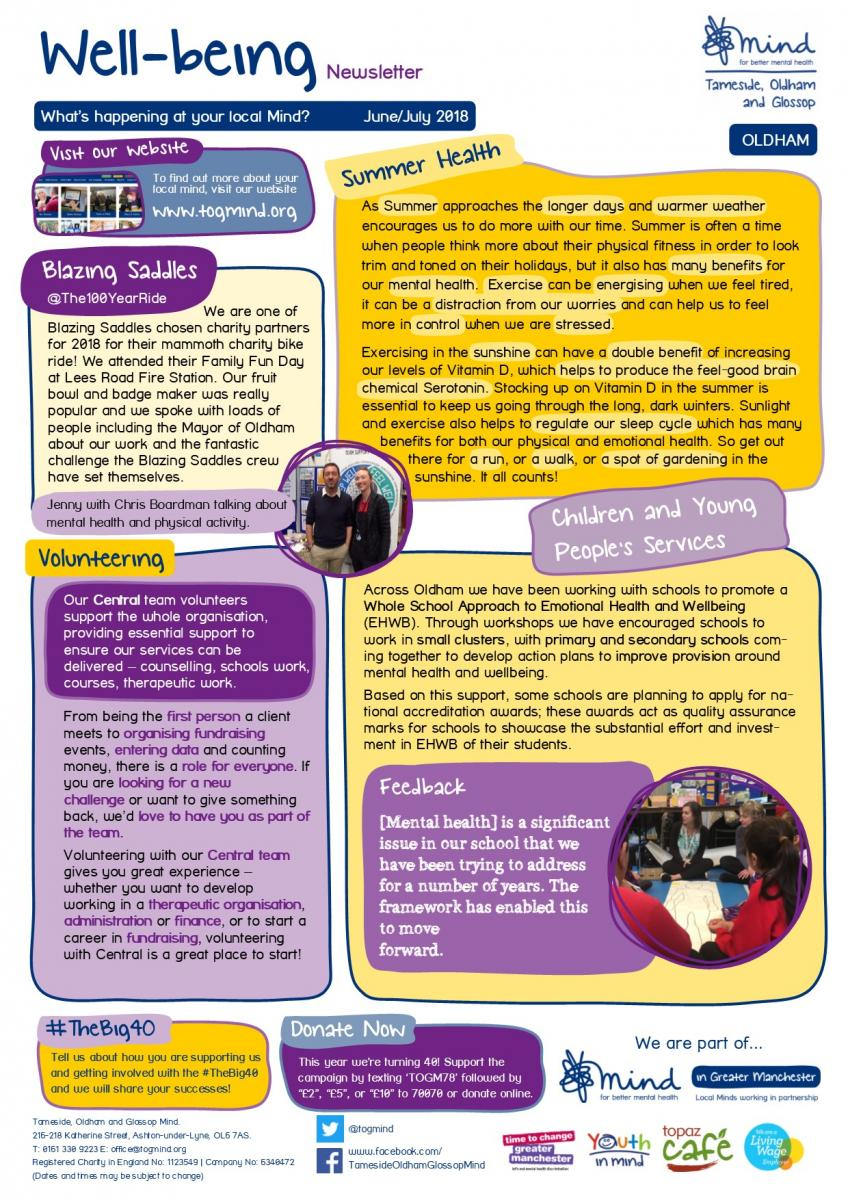Oldham Wellbeing Column - June / July - Click to view full size