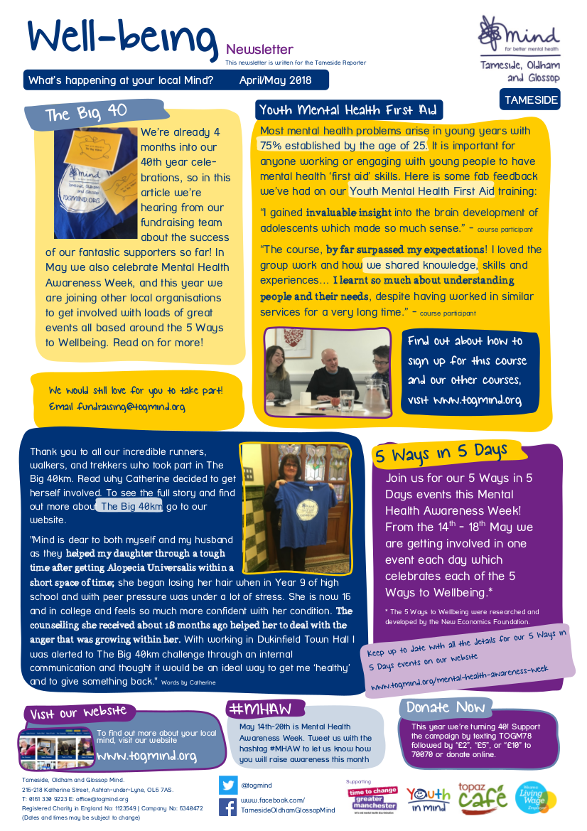 Tameside Wellbeing Column - March/April - Click to view full size
