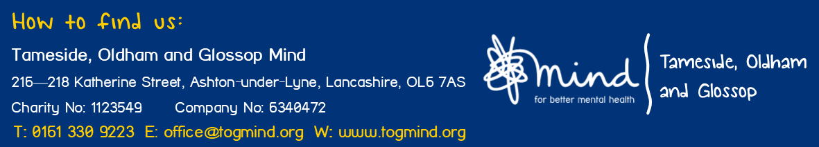 Tameside, Oldham, Glossop Mind Footer