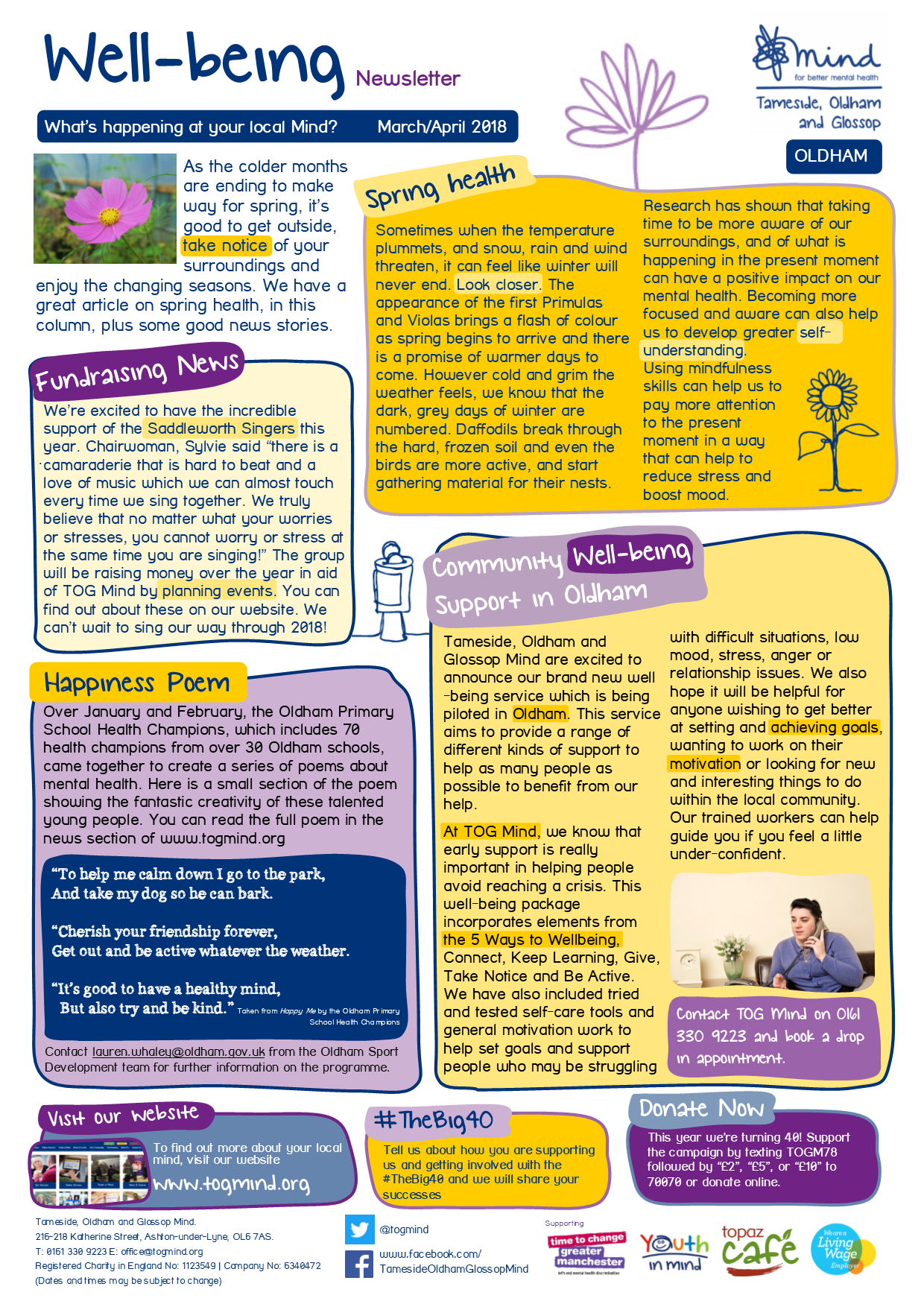 Wellbeing Column - Oldham - March / April