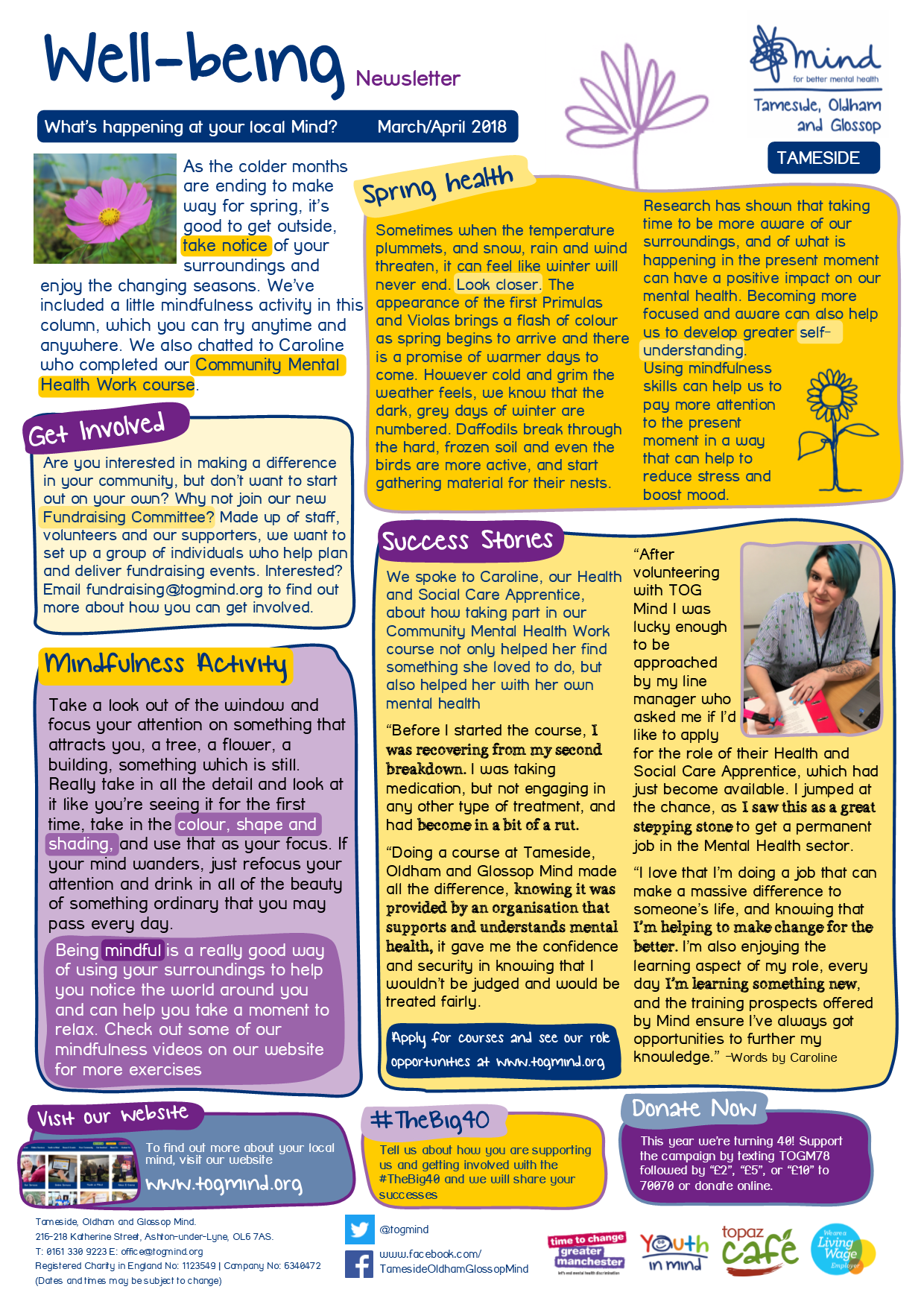 Wellbeing Column - Tameside - March / April