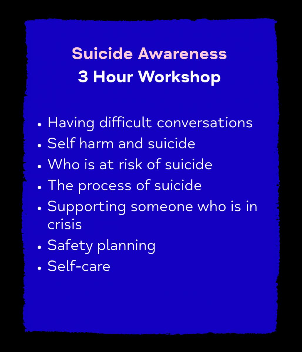 Suicide Awareness 3 Hour Workshop
