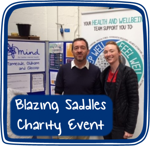 Jenny and Chris discuss mental health issues at the Blazing Saddles charity event